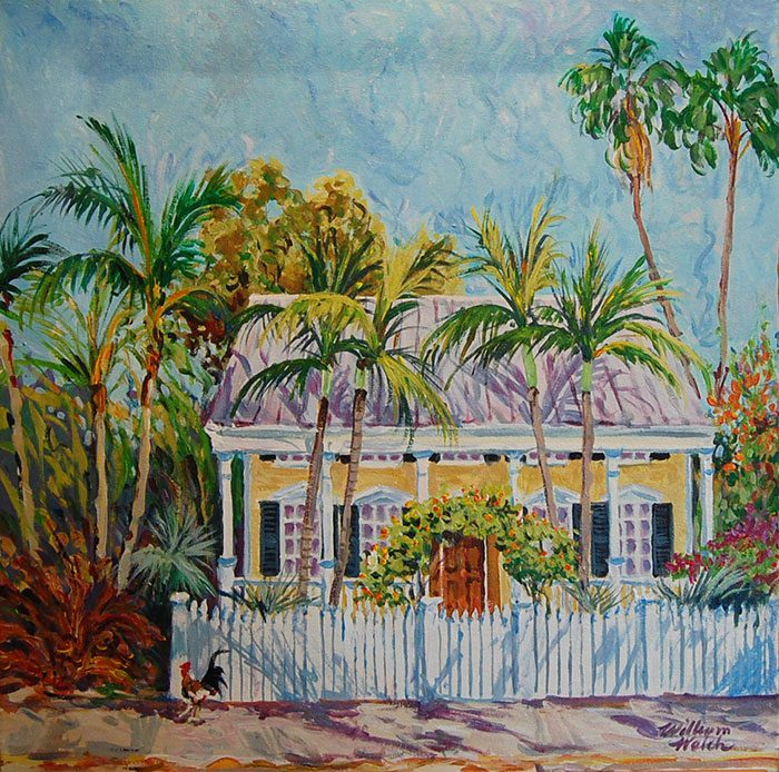 Yellow House and Palms