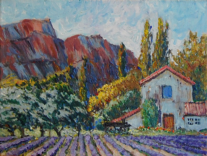 Farm House and Lilacs