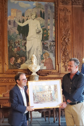 "William Welch watercolor ""Ville de Arles"" donated to City of Arles, France"