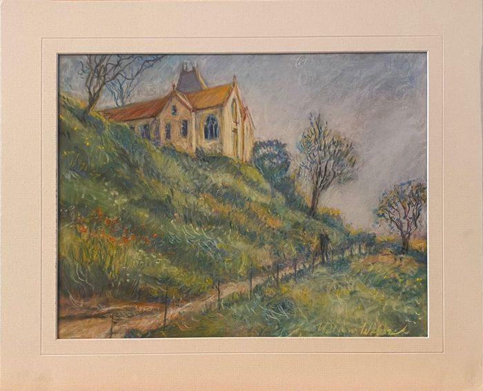 Church at Varenge Ville Normandy (Pastel, 16 x 13)