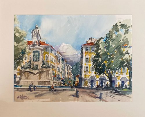 Garabaldi Square Old Nice (Watercolor, 14 x 18)