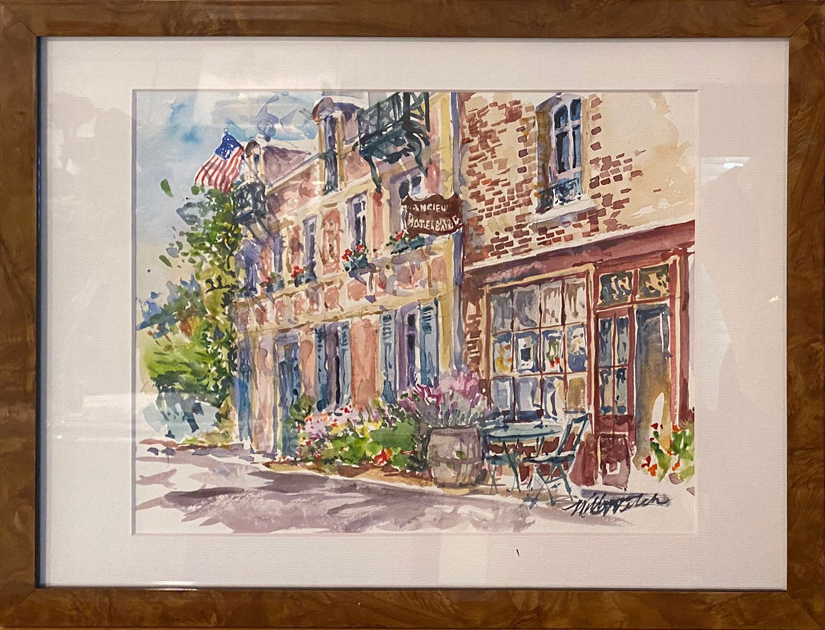 L'anien Hotel Baudy, Giverney (Watercolor, 17 x 13)