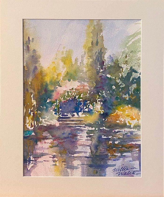 Lumiere dans l'etang, pond of light (Watercolor, 11 1/2 x 15 x 1/2)