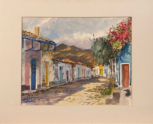 Street View in Trinidad (Watercolor, 18 x 14)