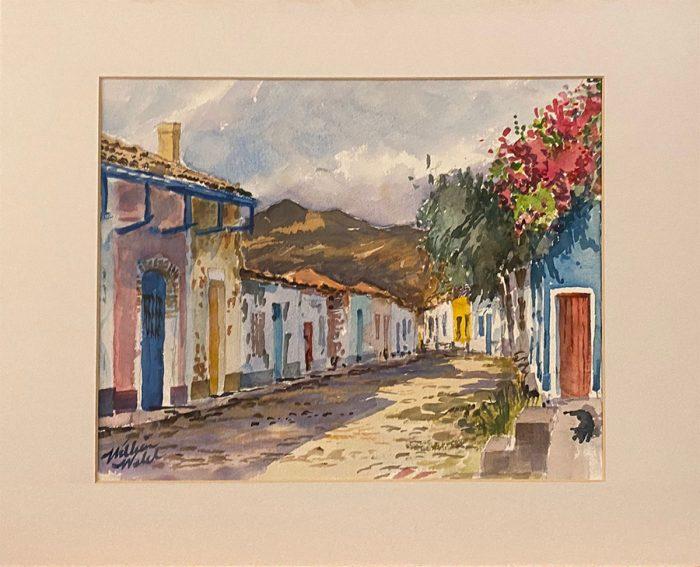 Street View in Trinidad (Watercolor, 18 x 14)